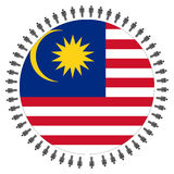 Round Malaysian flag with people royalty free illustration