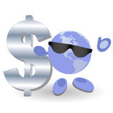 The round man and silver dollar Stock Photo