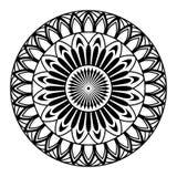 Round mandala for coloring on white background stock illustration