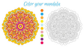 Round mandala design for adult coloring book. Royalty Free Stock Photo