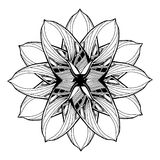 Round mandala element for coloring book. Black and white floral pattern. royalty free stock photo
