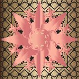 Round mandala, floral pattern on a golden background. Round mandala, floral pattern, pink pattern on golden background royalty free illustration