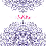 Round Mandala Frame-03. Hand-drawn Mandala border with place for text in the middle, Meditation lettering, decorative oriental vector background, good for vector illustration