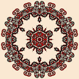 Round mandala in red and loght brown color. Royalty Free Stock Photos
