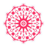 Round mandala. Red. Vector isolated image. Royalty Free Stock Photo