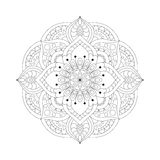 Round mandalas in vector. Graphic template for your design. Decorative retro ornament. Hand drawn background with flowers. Royalty Free Stock Photo