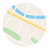 Round map with river - streets and parks - vector Stock Photos