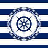 Round Marine Emblem with Ship`s Wheel royalty free illustration