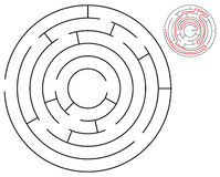 Round maze. Round black and white maze with solution royalty free illustration