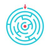 Round maze game vector icon stock illustration
