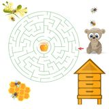 Round maze riddle game, find way your path. Bear help find path to honey. Labyrinth rebus for kids vector illustration Royalty Free Stock Photo