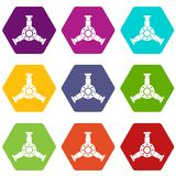 Round mechanic detail icon set color hexahedron Stock Images