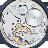 Round mechanic movement of old watch Royalty Free Stock Images
