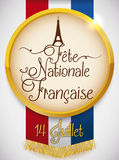 Round Medal with Eiffel Tower Design for French Independence Date, Vector Illustration. Golden round medal with Eiffel Tower design and greeting text for French stock illustration