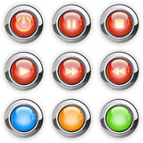 Round media player buttons Royalty Free Stock Photo