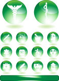 Round Medical Buttons. Set of 14 medical web buttons - green / round Stock Image