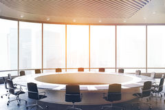 Round meeting room, black chairs, toned. Conference room interior with a round table, black office chairs near it and a panoramic window. 3d rendering, toned royalty free illustration