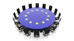 Round meeting room table with European Unions flag Royalty Free Stock Images