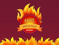 Round Mega Sale Emblem with Burning Blaze Sign. Advertising icon in flame, vector isolated badge. Hot sale best offer promo label with fire splashes vector illustration