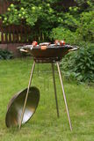 Round metal  barbecue grill appliance  picnic Royalty Free Stock Photos