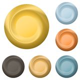 Round metal buttons vector illustration