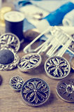Round metal buttons Royalty Free Stock Images