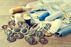 Round metal buttons Stock Images