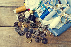 Round metal buttons Royalty Free Stock Photo