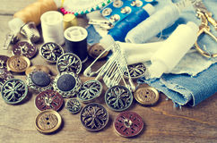 Round metal buttons Stock Image