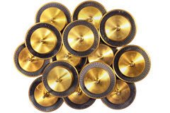 Round metal discs with circular marks for rotation speed control Royalty Free Stock Image