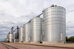 Round Metal Grain Elevator Bins Stock Photos