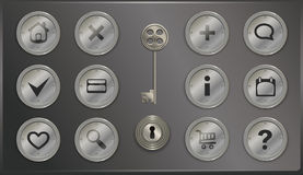 Round metal icons in retro steampunk Stock Images