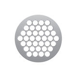 Round metal nozzle for the meat grinder. Whit holes on white background Stock Photos