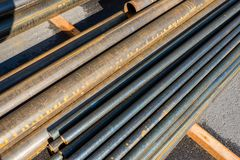 Round metal rolled metal tubes. Close-up of a cut royalty free stock photography
