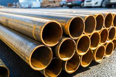 Round metal rolled metal tubes. Close-up of a cut stock photo