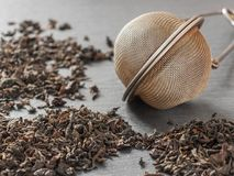 Round metal tea strainer for brewing tea and the dry leaves of b