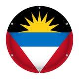 Round metallic flag - Antigua and Barbuda, screws Stock Images
