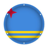 Round metallic flag of Aruba with screw holes Royalty Free Stock Photography