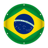 Round metallic flag of Brazil with holes Royalty Free Stock Photo