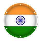 Round metallic flag of India with screw holes Stock Photography