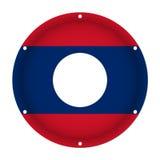 Round metallic flag of Laos with screw holes Royalty Free Stock Image