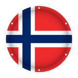 Round metallic flag of Norway with screw holes. Round metallic flag of Norway with six screw holes in front of a white background Stock Images