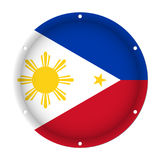 Round Metallic Flag - Philippines With Holes Stock Photo