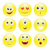 Round śmieszni emoticons Zdjęcia Stock
