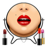 Round mirror with woman`s glossy lips reflection and set of lips Stock Images