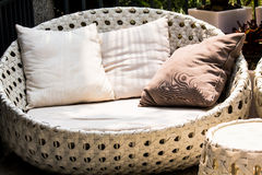 Round modern furniture wicker chair royalty free stock image