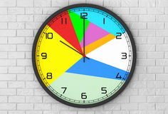 Round Multicolour Modern Office Clock. 3d Rendering Royalty Free Stock Images