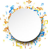 Round musical background with notes. White round musical background with colorful notes. Vector illustration stock illustration