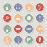 Round Musical Instruments Icons. Vector Stock Photos