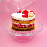 Round naked cake with flowers on it Royalty Free Stock Image